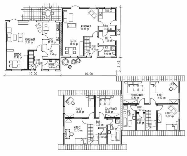 Vörder Holzhaus VH70-92 Doppelhaus Grundrisse